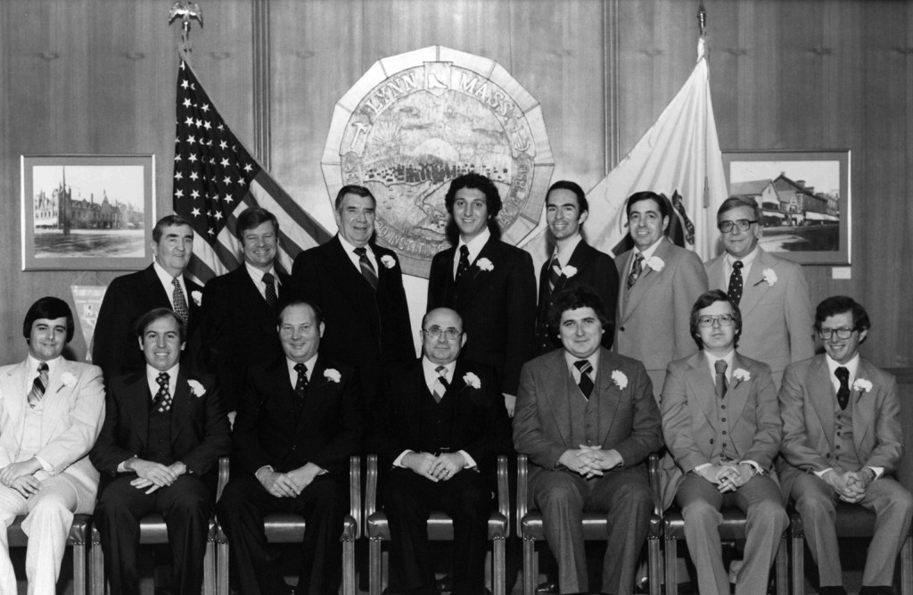 group picture of Charles as he was sworn in for his second term on the Lynn City Council in 1978.