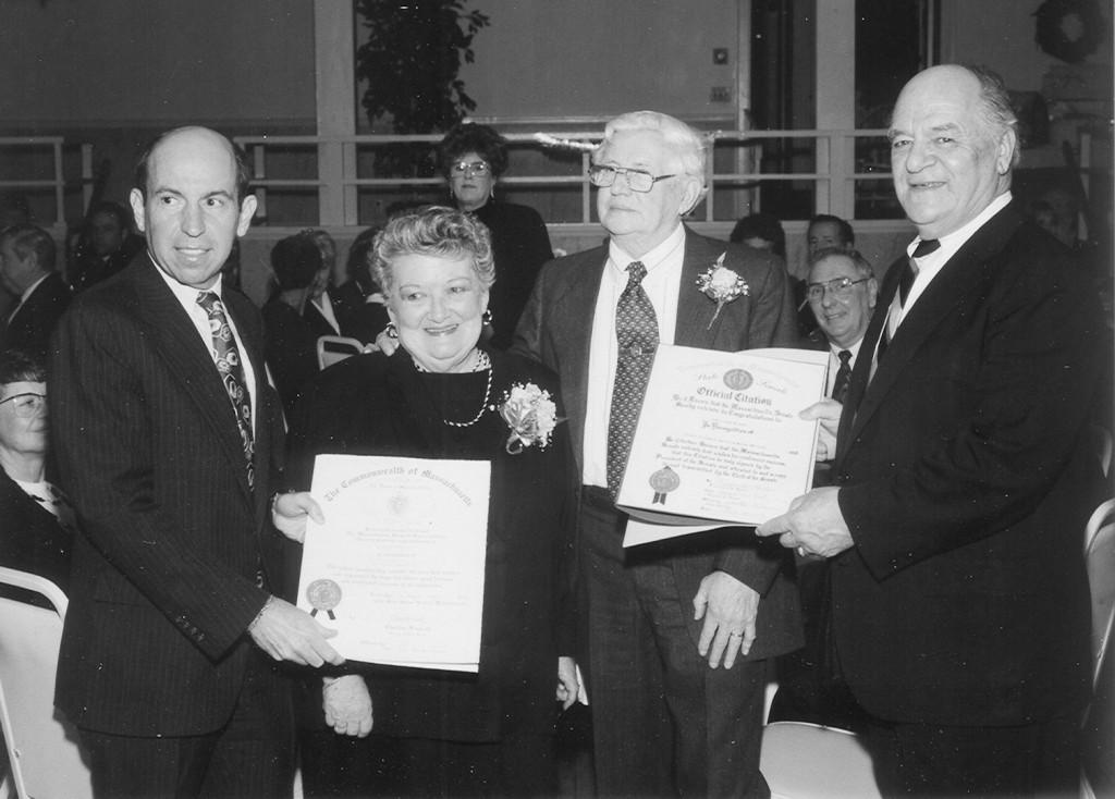 Shirley Hughes receiving a reward