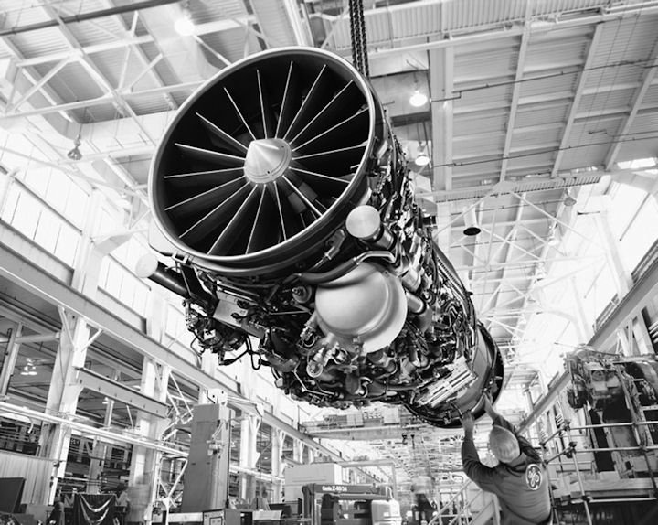 picture of jet engine on assembly line