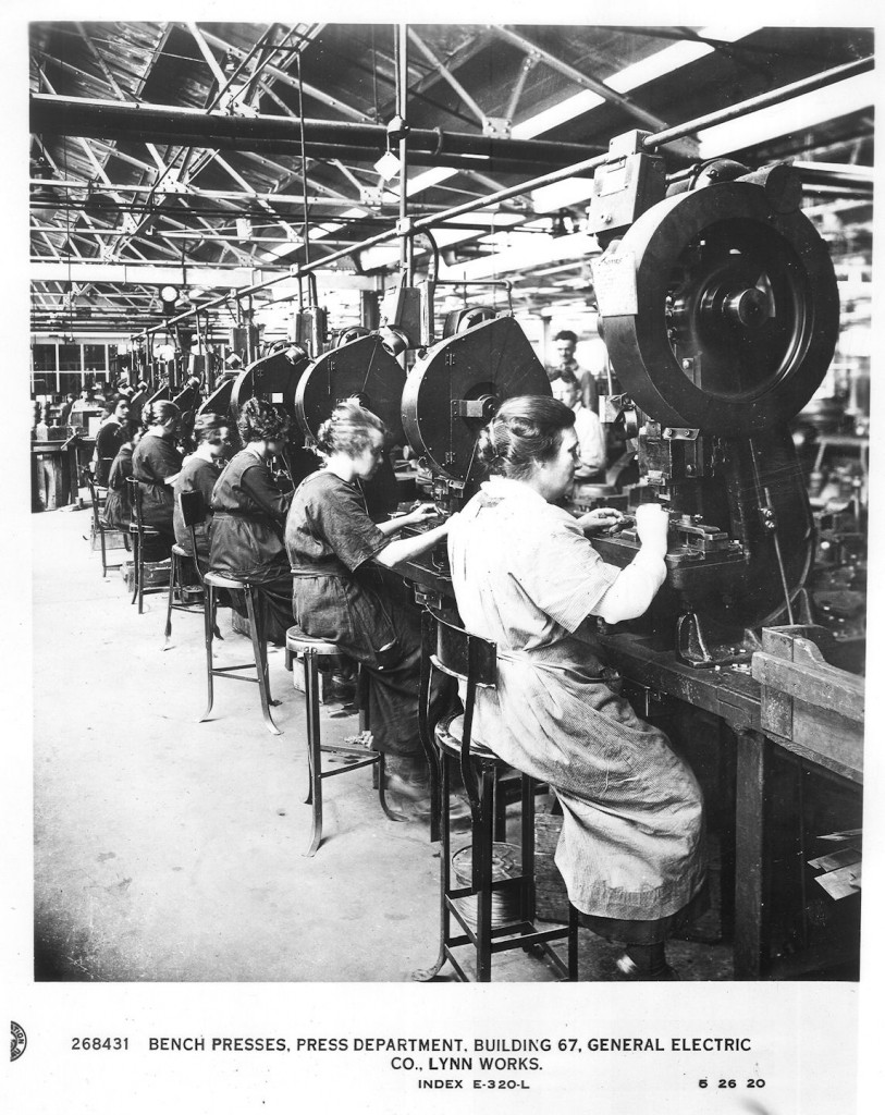 picture of workers in the press department building 67